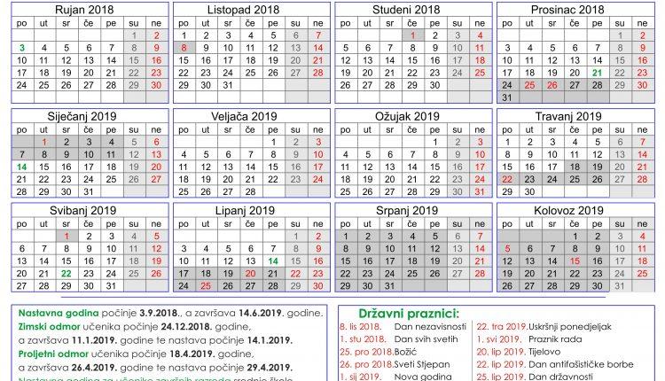 0aa298d060 Osnovna škola Matije Vlačića Labin - Kalendar školske godine